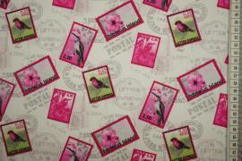 Bawełna drukowana - znaczki pocztowe