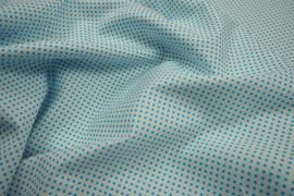 Bawełna - białe tło, turkusowe kropki 2 mm