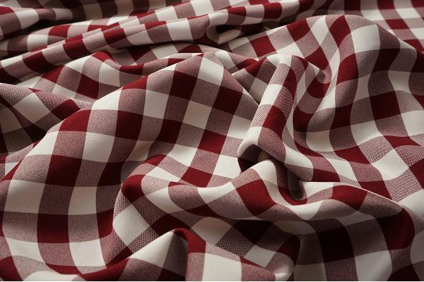 Tkanina dekoracyjna - kratka bordowa duża
