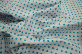 Bawełna - białe tło, turkusowe kropki 5 mm
