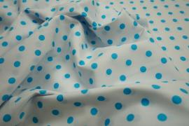Bawełna - białe tło, turkusowe kropki 7 mm