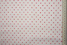 Tiul flok - czerwone kropki na białym tle
