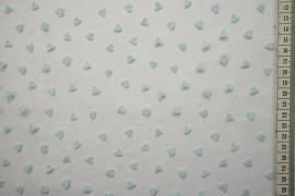 Tiul flok - błękitne serca na białym tle