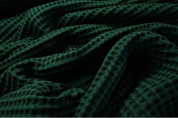 Bawełna wafel w kolorze butelkowej zieleni