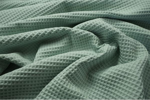 Bawełna wafel w kolorze pastelowej zieleni