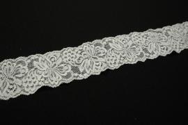 Taśma koronkowa elastyczna - 5 cm, kolor biały