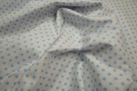 Bawełna - białe tło, błękitne kropki 5 mm
