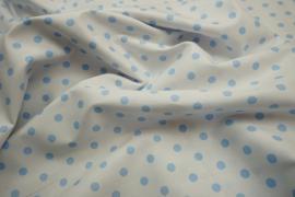 Bawełna - białe tło, błękitne kropki 7 mm