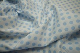 Bawełna - białe tło, błękitne kropki 1 cm