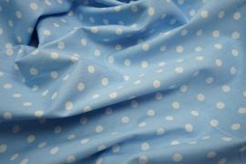 Bawełna - błękitne tło, białe kropki 7 mm