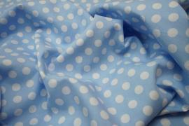 Bawełna - błękitne tło, białe kropki 1 cm