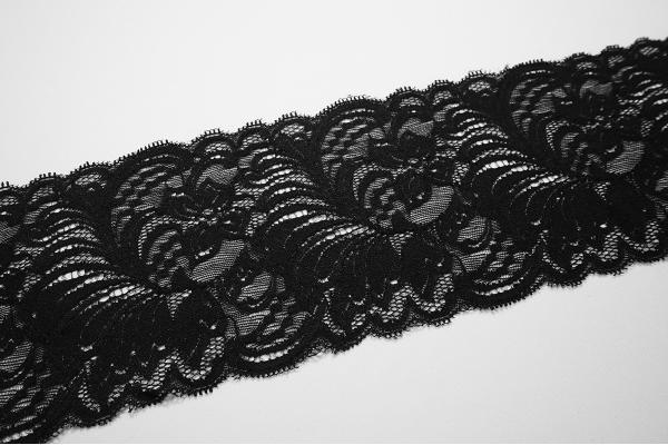 Taśma koronkowa - szerokość 12 cm, kolor czarny