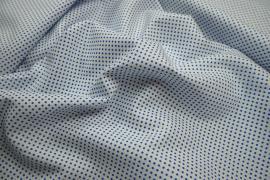 Bawełna - białe tło, chabrowe kropki 2 mm