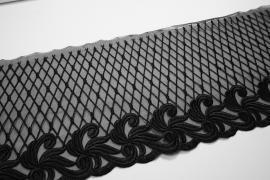 Taśma koronkowa - szerokość 19 cm, kolor czarny