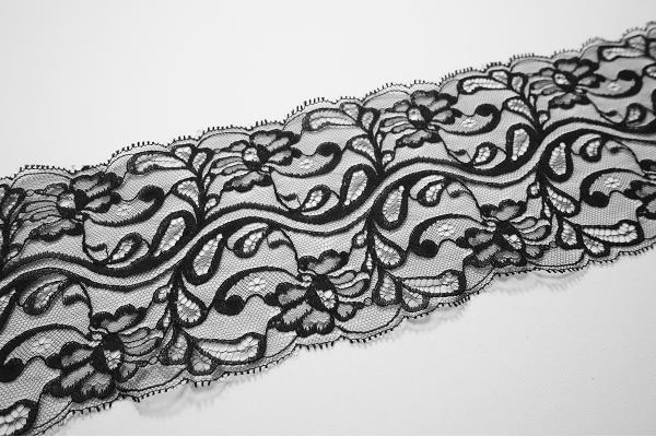 Taśma koronkowa - kolor czarny, szerokość 12 cm