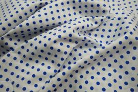 Bawełna - białe tło, chabrowe kropki 5 mm