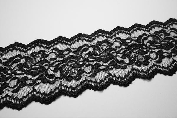 Taśma koronkowa - kolor czarny, 13 cm