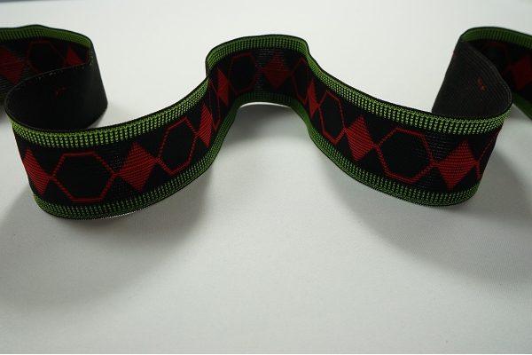 Taśma elastyczna ozdobna - zielony i czerwony, 5 cm