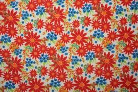 Tkanina ogrodowa - kwiaty w odcieniach czerwonego i niebieskiego