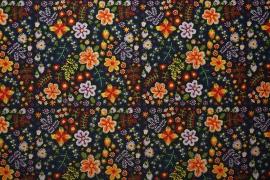 Tkanina ogrodowa - kolorowe kwiaty na czarnym tle