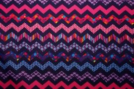 Tkanina ogrodowa wodoodporna - kolorowy zygzak