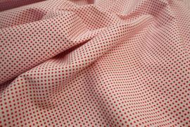 Bawełna - białe tło, czerwone kropki 2 mm