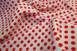 Bawełna - białe tło, czerwone kropki 1 cm