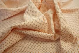 Bawełna - białe tło, pomarańczowe kropki 2 mm
