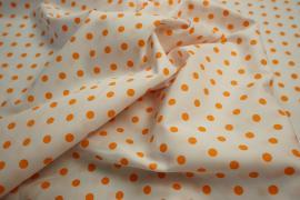Bawełna - białe tło, pomarańczowe kropki 7 mm