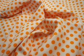 Bawełna - białe tło, pomarańczowe kropki 1 cm