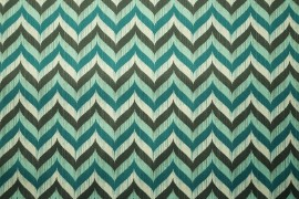 Tkanina ogrodowa wodoodporna w kolorowy zygzak