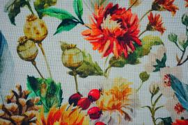 Len z wiskozą - kwiaty na jasnym tle