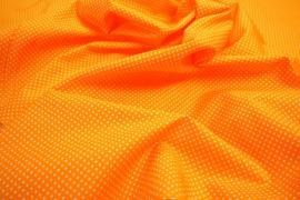 Bawełna - pomarańczowe tło, białe kropki 2 mm