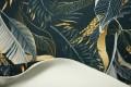 Filc drukowany - grafitowo-złote liście