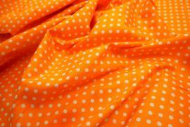 Bawełna - pomarańczowe tło, białe kropki 5 mm