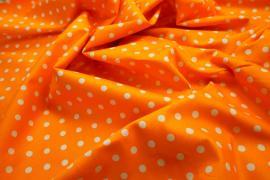 Bawełna - pomarańczowe tło, białe kropki 7 mm