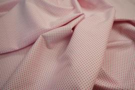 Bawełna - białe tło, różowe kropki 2 mm