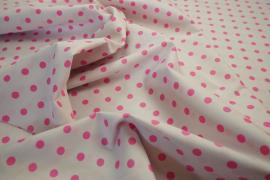 Bawełna - białe tło, różowe kropki 7 mm