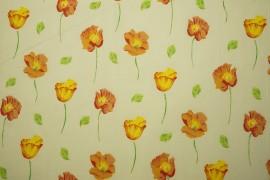 Bawełna - kwiaty w pomarańczowym odcieniu