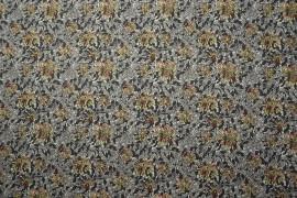 Bawełna drukowana - kwiaty i szare liście