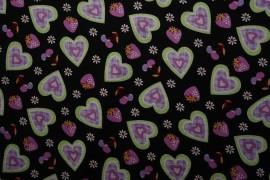Bawełna - różowe serca na czarnym tle