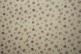 Bawełna - fioletowe, różowe koniczynki
