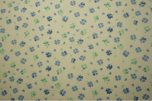 Bawełna - niebieskie, zielone koniczynki