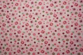 Bawełna - różowe, zielone kwiatki na różowym tle
