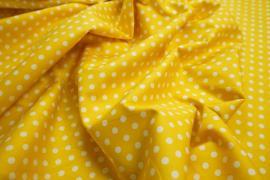 Bawełna - żółte tło, białe kropki 5 mm