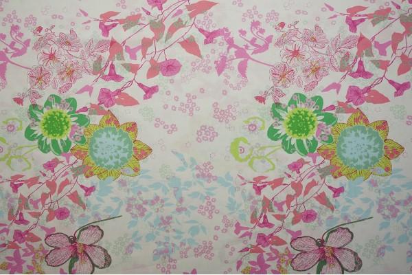 Bawełna - duże pastelowe kwiaty