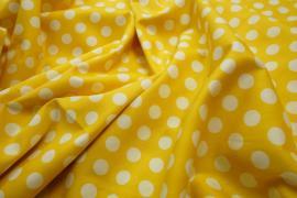 Bawełna - żółte tło, białe kropki 1 cm