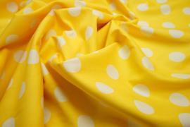 Bawełna - żółte tło, białe kropki 2,3 cm