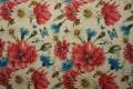 Len z wiskozą - bordowe kwiaty i chabry
