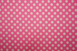 Bawełna - różowe tło, białe kropki 1 cm